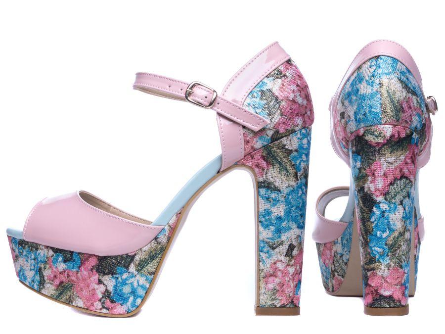 Sandália Meia Pata  Verniz Rose e Tecido Floral