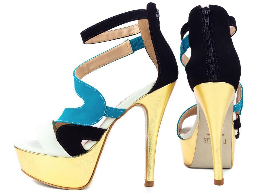 Sandália Meia Pata (Ref: 35.809) Nobucknas cores Bege, Preto e Azul