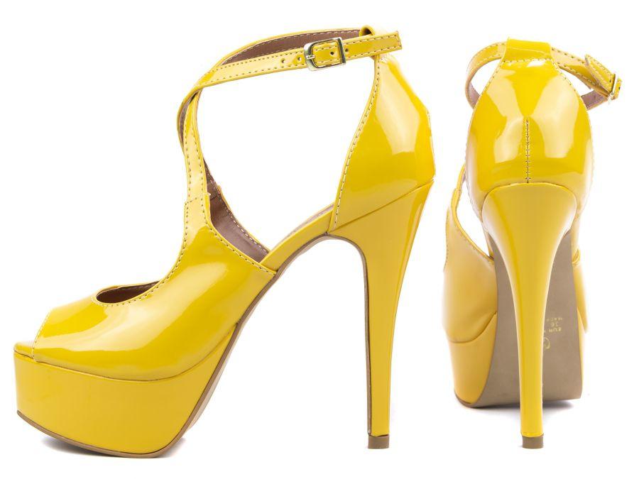Sandália Meia Pata  Sapato Peep Toe  Amarelo