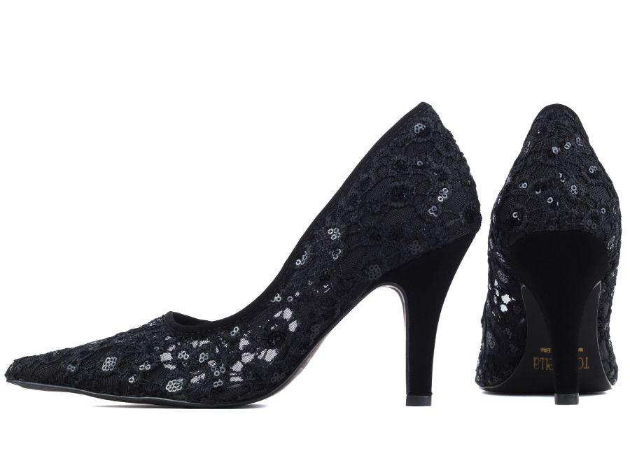 Sapato Scarpin Preto Rendado