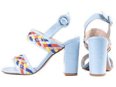 Sandália Feminina Napa Azul e Trança Colorida