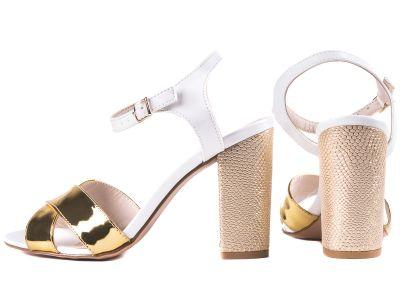 Sandália Feminina  Napa Branco e Metalizado Ouro