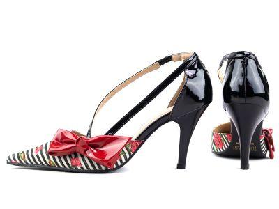 Sapato Scarpin Preto Laço em Verniz Vermelho