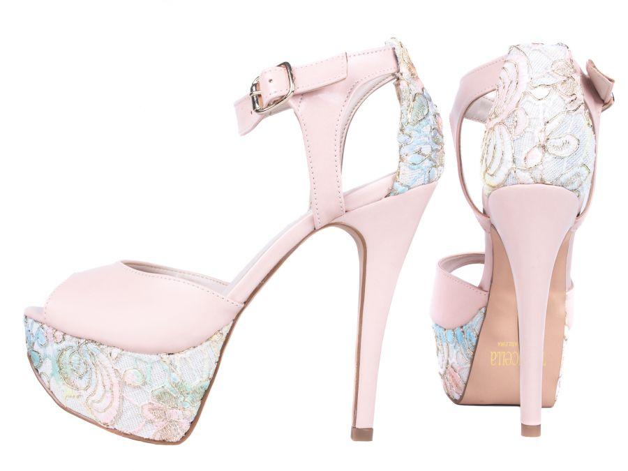 Sapato Meia Pata Rosê com Rendas