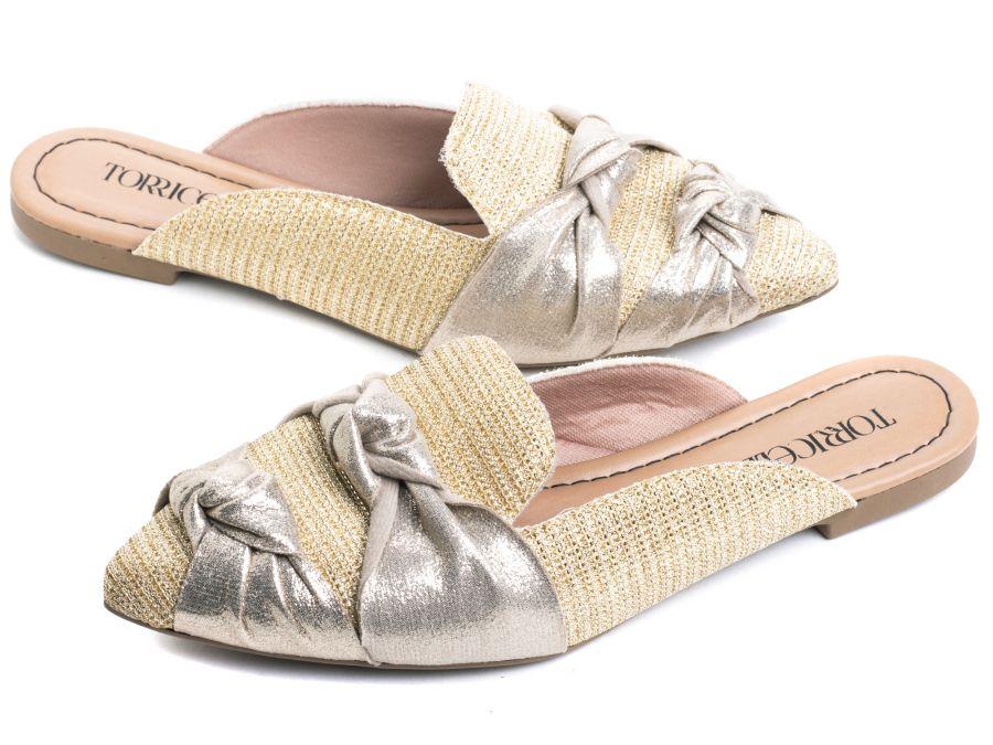 Sapato Mule  Laços na cor Dourado