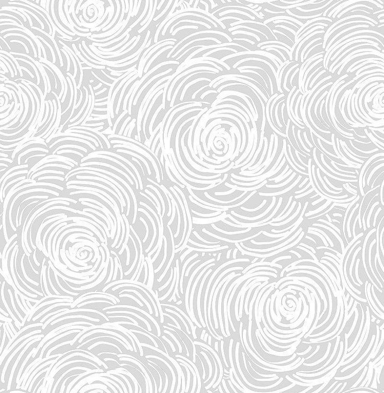 Papel De Parede Twist 10x0.52m Floral Cinza
