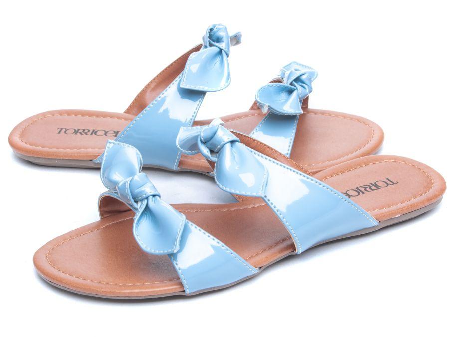 Sandália Rasteira Verniz  Azul