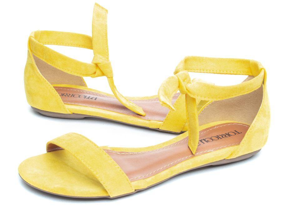 Sandália Rasteira  Camurça  Amarelo