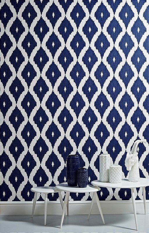 Papel De Parede Pop 10x0.52m Geometrico Branco/Azul