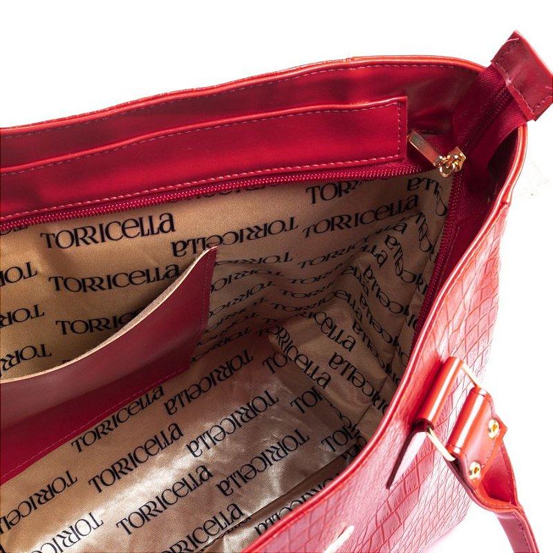 Bolsa Tote Texturizada em Croco Vermelho