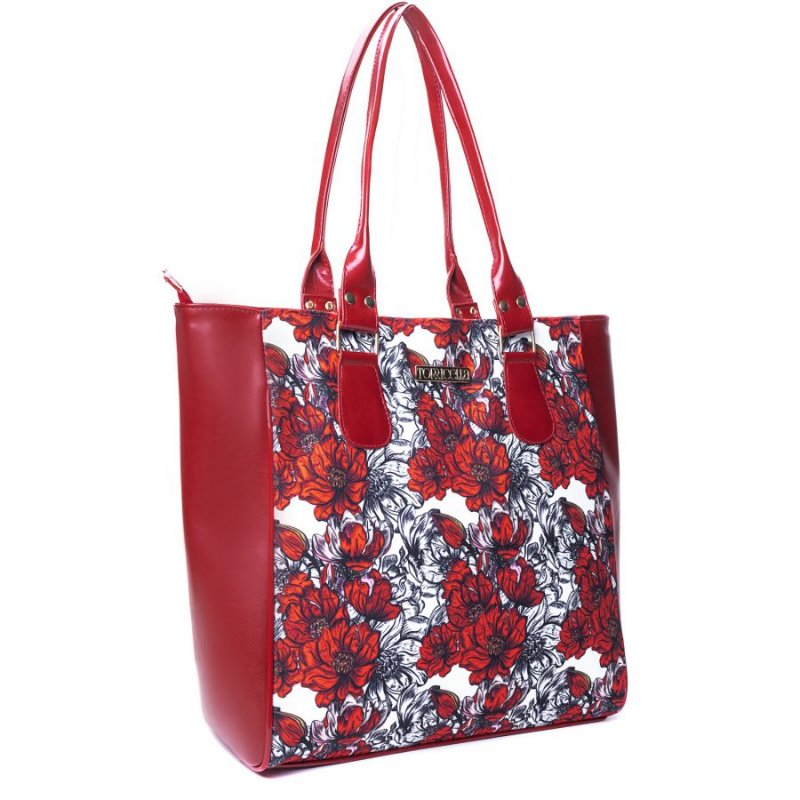 Bolsa Tote Tecido Floral Vermelho