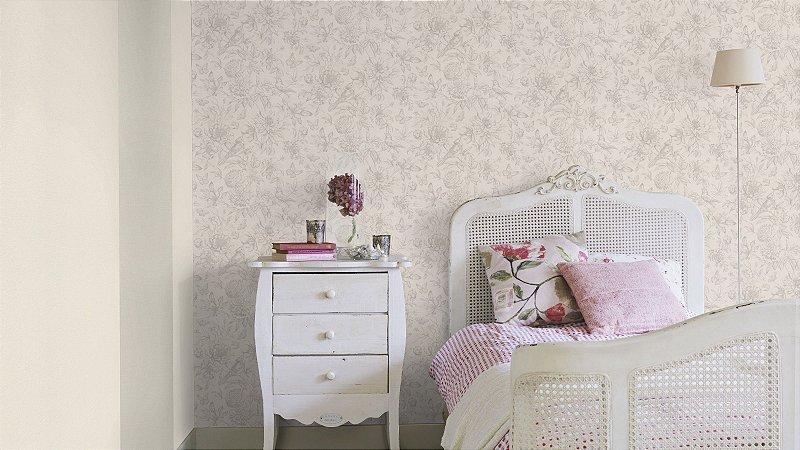 Papel De Parede Grace 10x0.53m Floral Branco/Cinza
