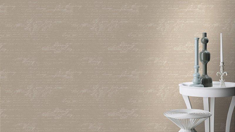 Papel De Parede Grace 10x0.53m Lettering Bege/Branco