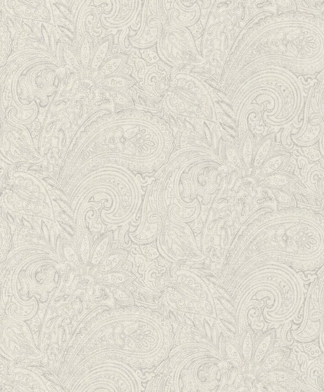 Papel De Parede Grace 10x0.53m Arabesco Branco/Cinza