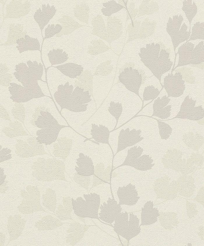 Papel De Parede Grace 10x0.53m Folhagem Branco/Bege