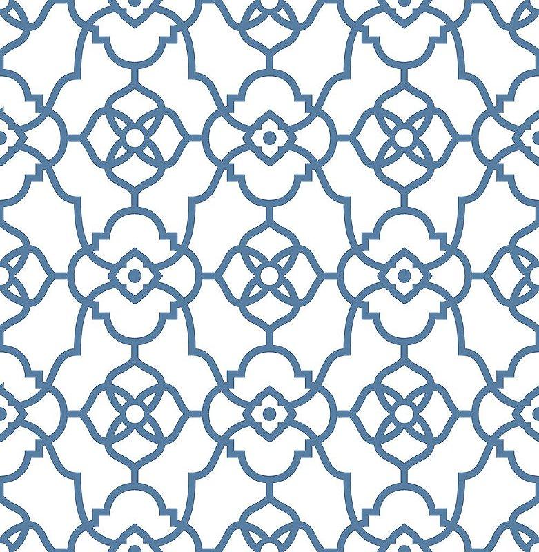 Papel De Parede Energy 10x0.52m Grafismo Art Deco Branco/Azul