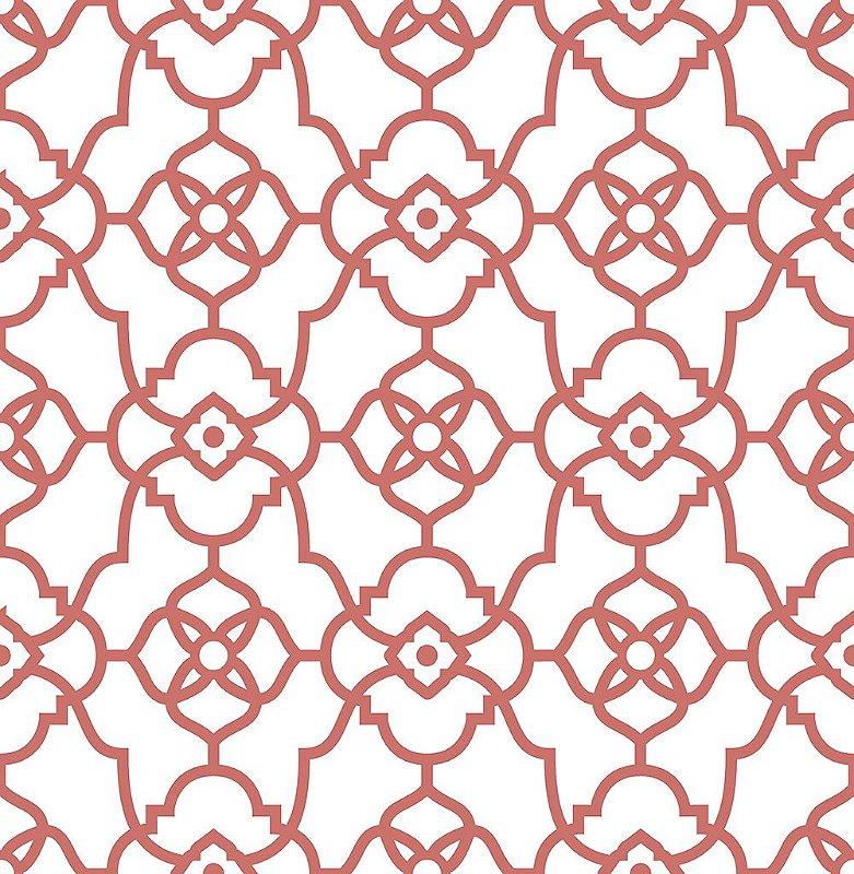 Papel De Parede Energy 10x0.52m Grafismo Art deco Branco/Vermelho