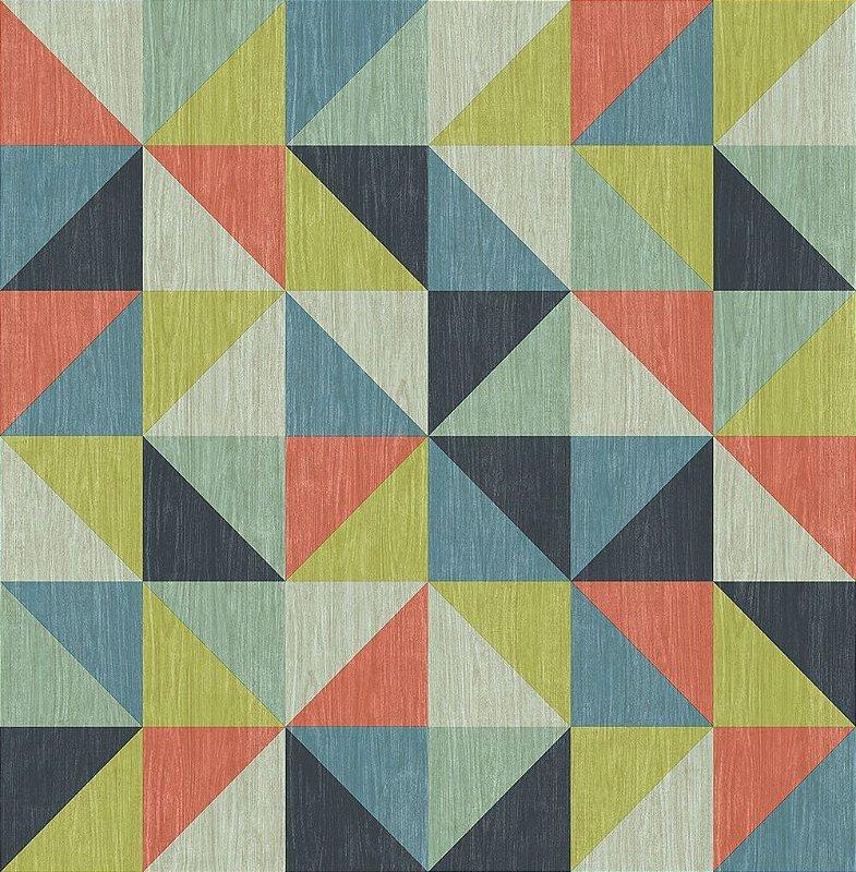 Papel De Parede Energy 10x0.52m Triangular Colorido