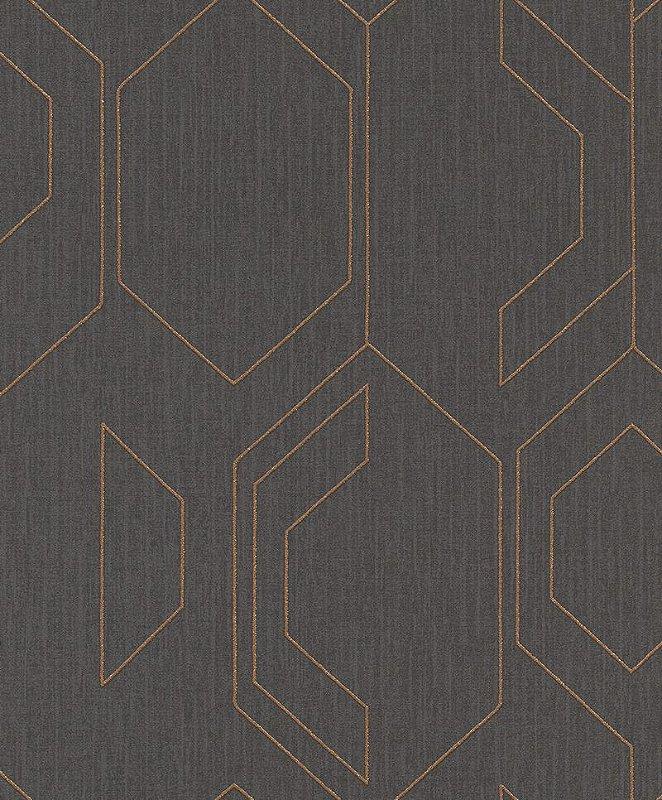 Papel De Parede Joy 10x0.53m Geometrico Grafite/Dourado