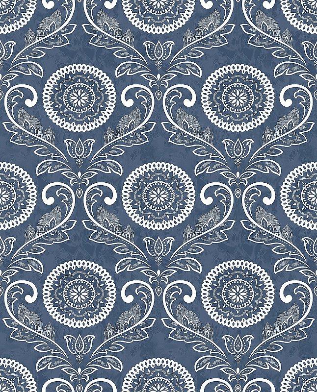 Papel De Parede Freedom 10x0.52m Arabesco Azul