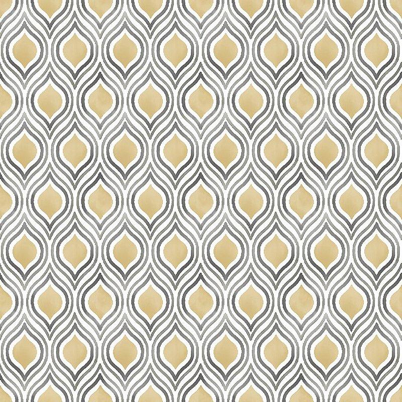 Papel De Parede Freedom 10x0.52m Padronagem Pluma Cinza/Amarelo