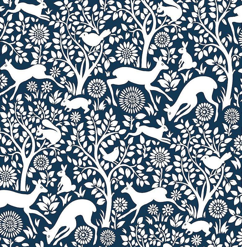 Papel De Parede Freedom 10x0.52m Floresta Encantada Azul