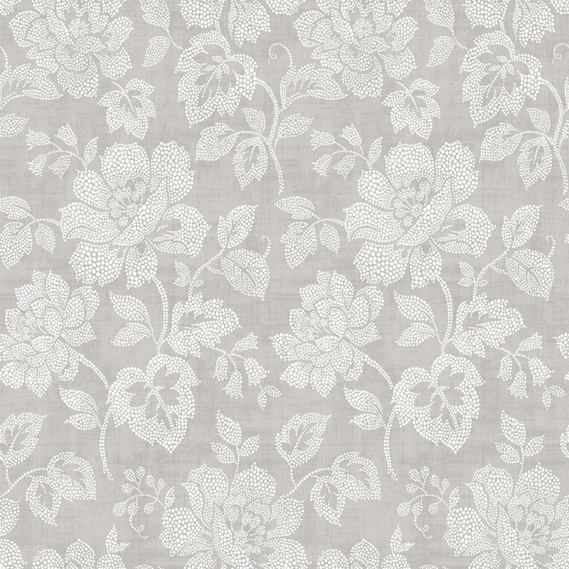 Papel De Parede Freedom 10x0.52m Floral Pontilhismo Cinza