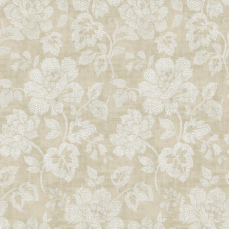 Papel De Parede Freedom 10x0.52m Floral Pontilhismo Bege