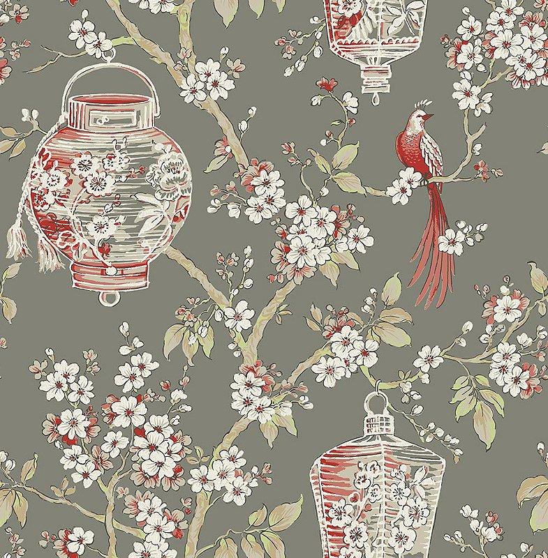 Papel De Parede Freedom 10x0.52m Floral Oriental Cinza/Vermelho