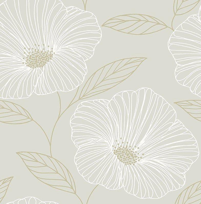 Papel De Parede Freedom 10x0.52m Maxi Floral Cinza/Dourado