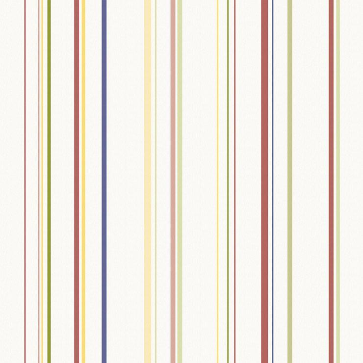 Papel De Parede Infantário Listras Verde, Azul, Amarela e Vermelha 1756