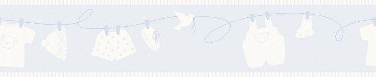 Papel De Parede Infantário Faixa Varal Azul 1901