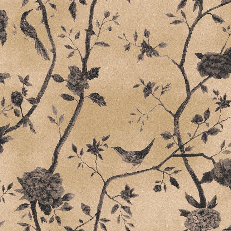 Papel De Parede Natural Floral Bege com Passaros 1443