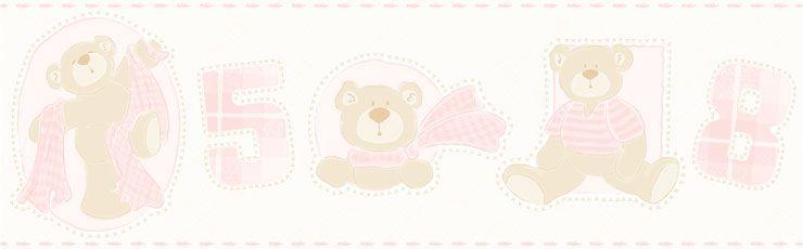 Papel De Parede Bambino's Faixa Urso Rosa 3207