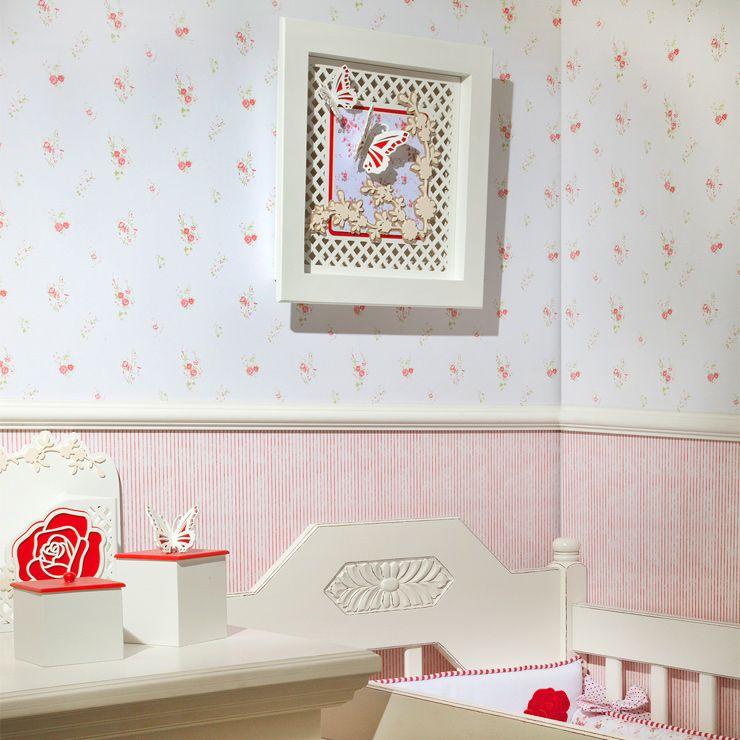Papel De Parede Bambino's Floral Branco e Rosa 3350
