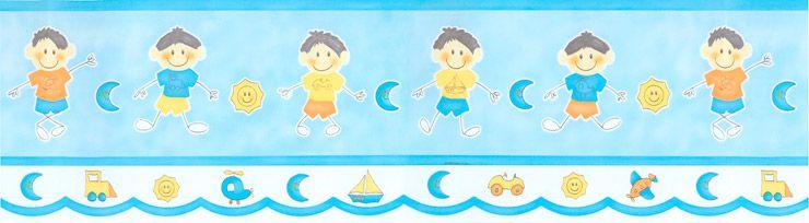 Papel De Parede Bambino's Faixa Menino Palito Azul 8522