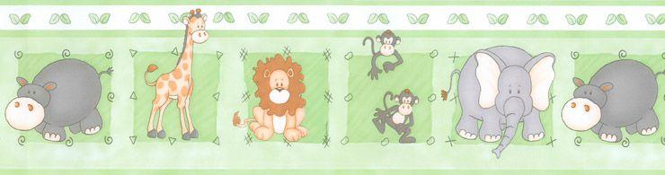 Papel De Parede Bambino's Faixa Zoo Verde 8502