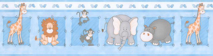 Papel De Parede Bambino's Faixa Zoo Azul 8503