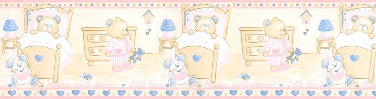 Papel De Parede Bambino's Faixa Urso Rosa e Azul 5501