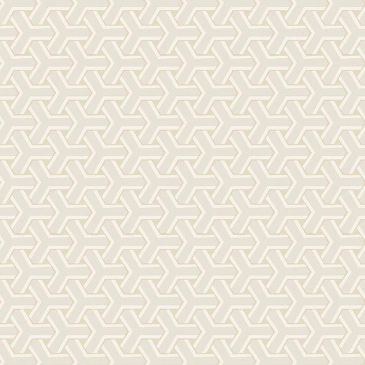Papel De Parede Diplomata Geometrico Boolmerang Branco, Bege Claro e Gelo 3108