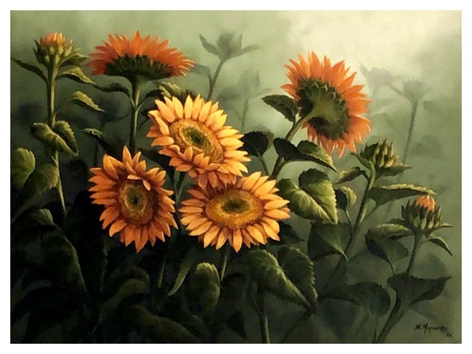 Quadro Pintura Artística 157 - Mara Maynardes óleo sobre tela 60 X 80 Flor do sol s/ moldura