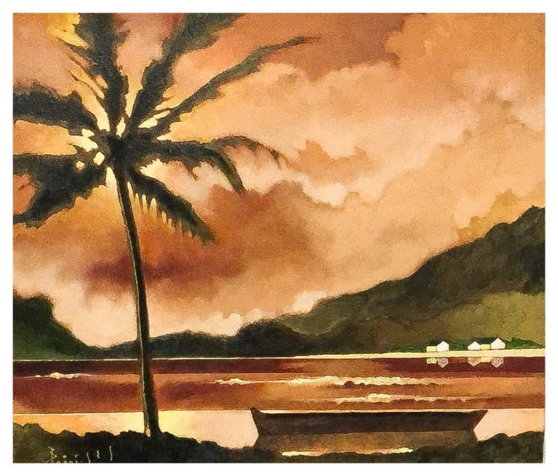 Quadro Pintura Artística 106 - Álvaro Borges filho acrílica sobre tela 50 X 60 Marinha com palmeira s/ moldura