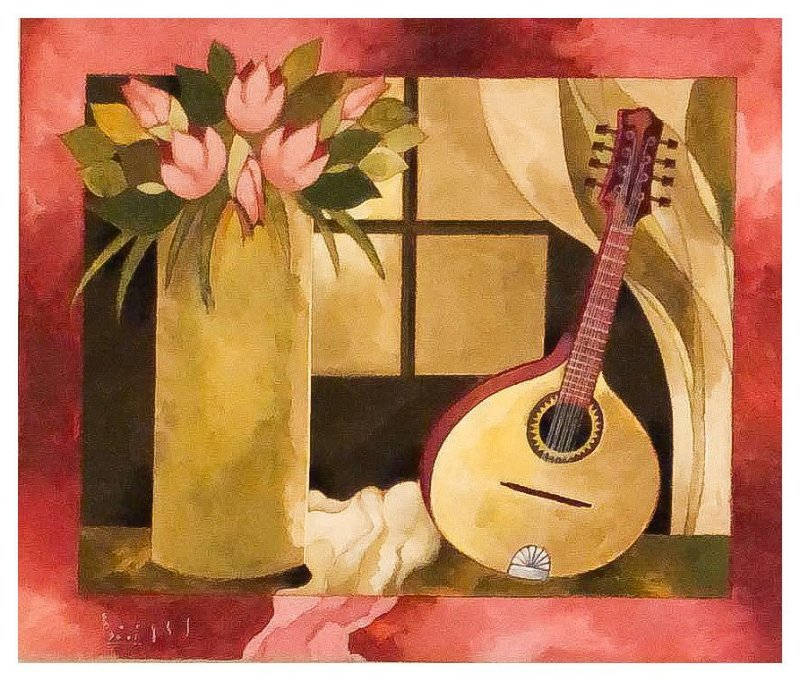 Quadro Pintura Artística 104 - Álvaro Borges filho acrílica sobre tela 50 X 60 Flores e bandolim s/ moldura