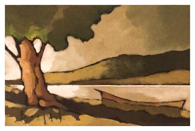 Quadro Pintura Artística 101 - Álvaro Borges filho acrílica sobre tela 20 X 30 Árvore, barco e Rio s/ moldura