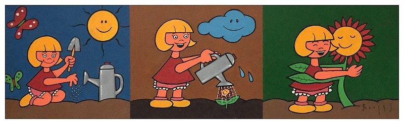 Quadro Pintura Artística 109 - Álvaro Borges filho acrílica sobre tela 30 X 100 crianças plantando s/ moldura