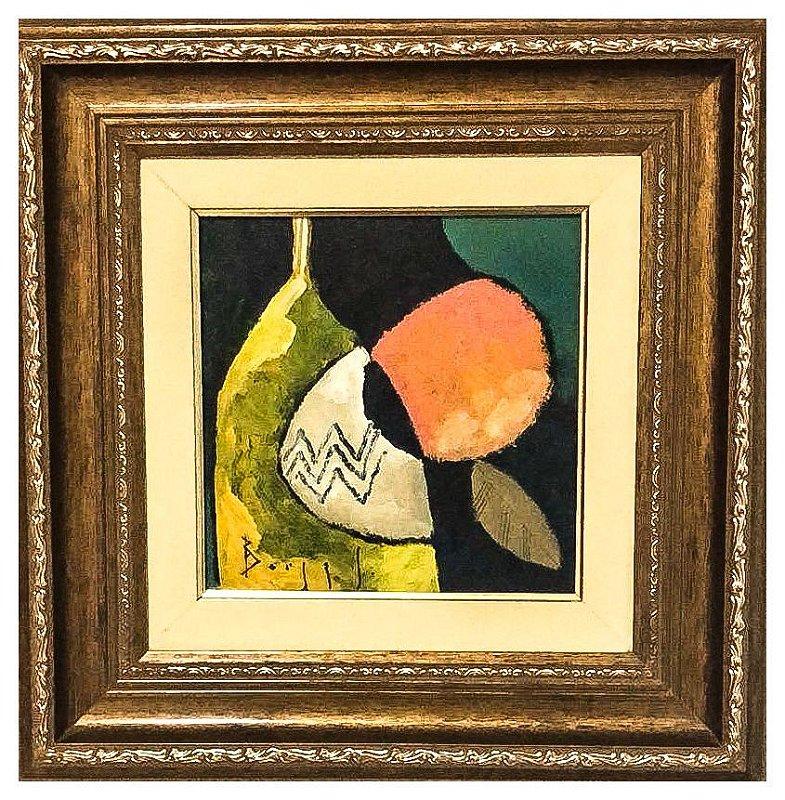 Quadro Pintura Artística  07 - Álvaro Borges Filho acrílica sobre tela 40 X 40 Garrafa e fruta c/ moldura