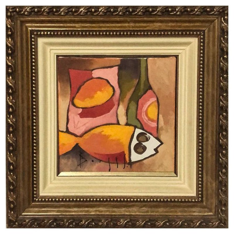 Quadro Pintura Artística 06 - Álvaro Borges Filho acrílica sobre tela 38 X 38 Peixe Garrafa e fruta c/ moldura