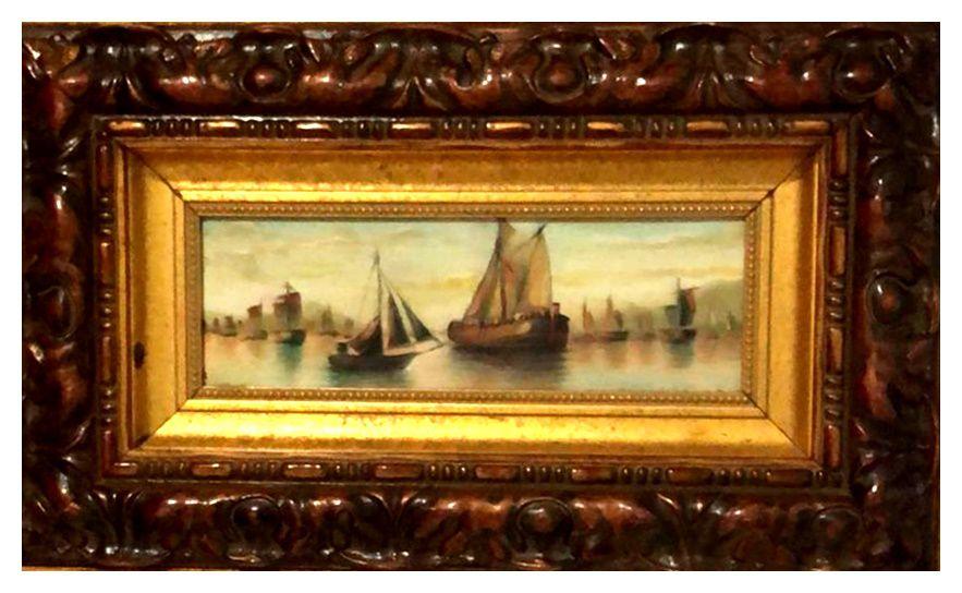 Quadro Pintura Artística 14 - Luiz de Souza óleo sobre Eucatex 33 X 55 Barcos c/ moldura