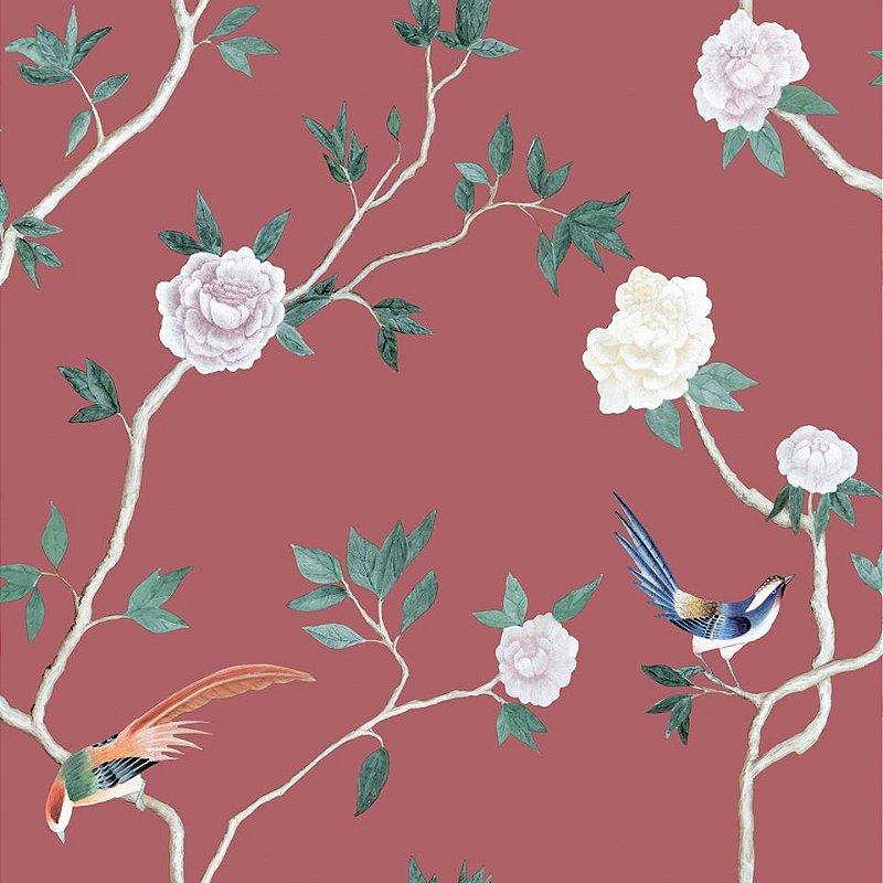 Papel De Parede Diplomata Floral Vermelho 1122-11