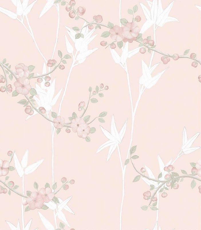 Papel De Parede Diplomata Floral Fundo Rosa 1122-21
